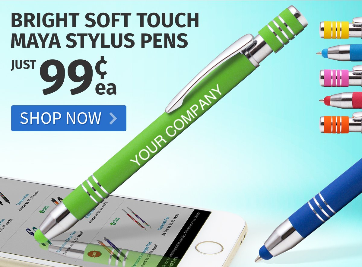Bright Soft Touch Maya Stylus Pens for only 99¢ each!
