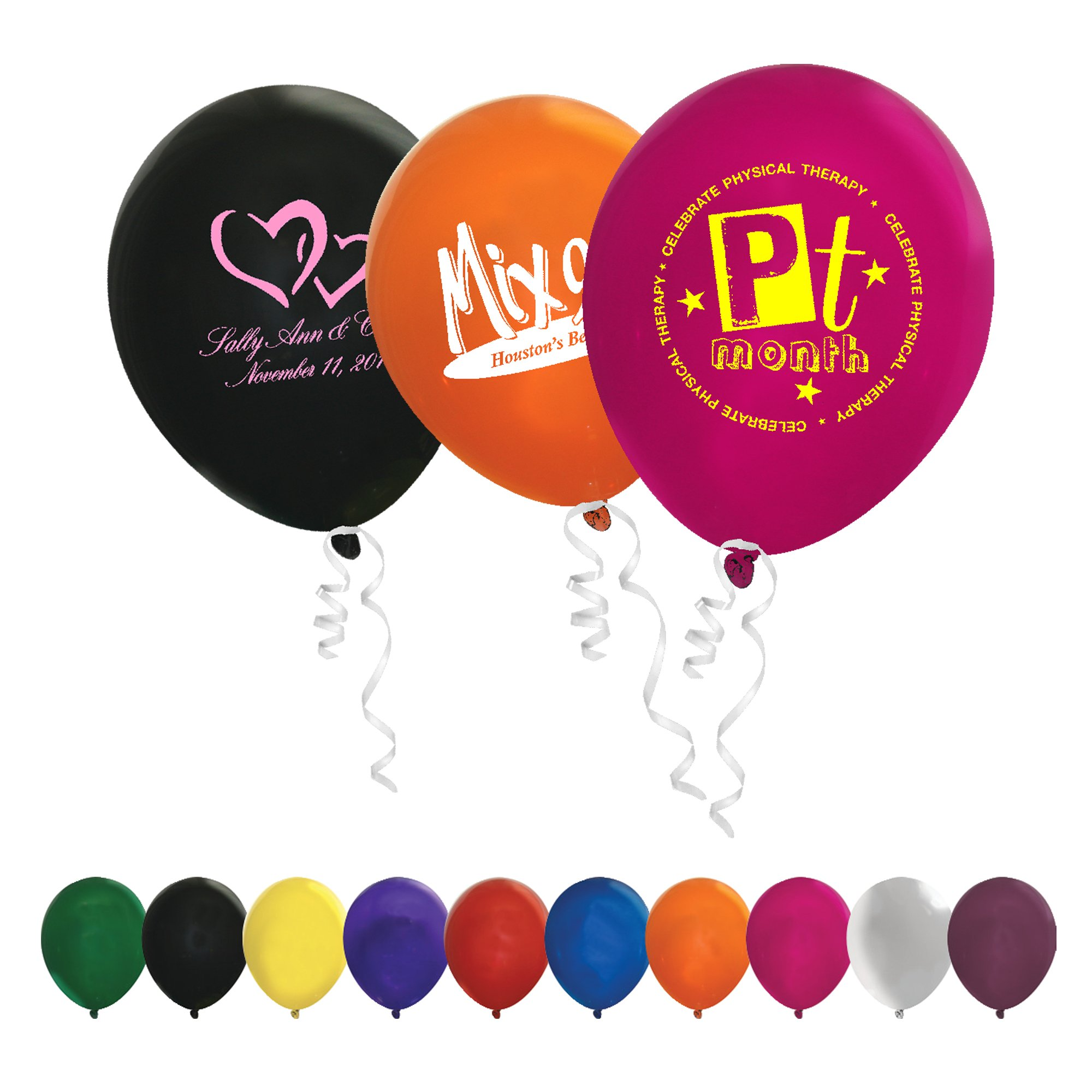 "Inflate your brand message with these custom Crystal Balloons. These 11"" balloons provide a large imprint area and are available in a colour for every occasion."