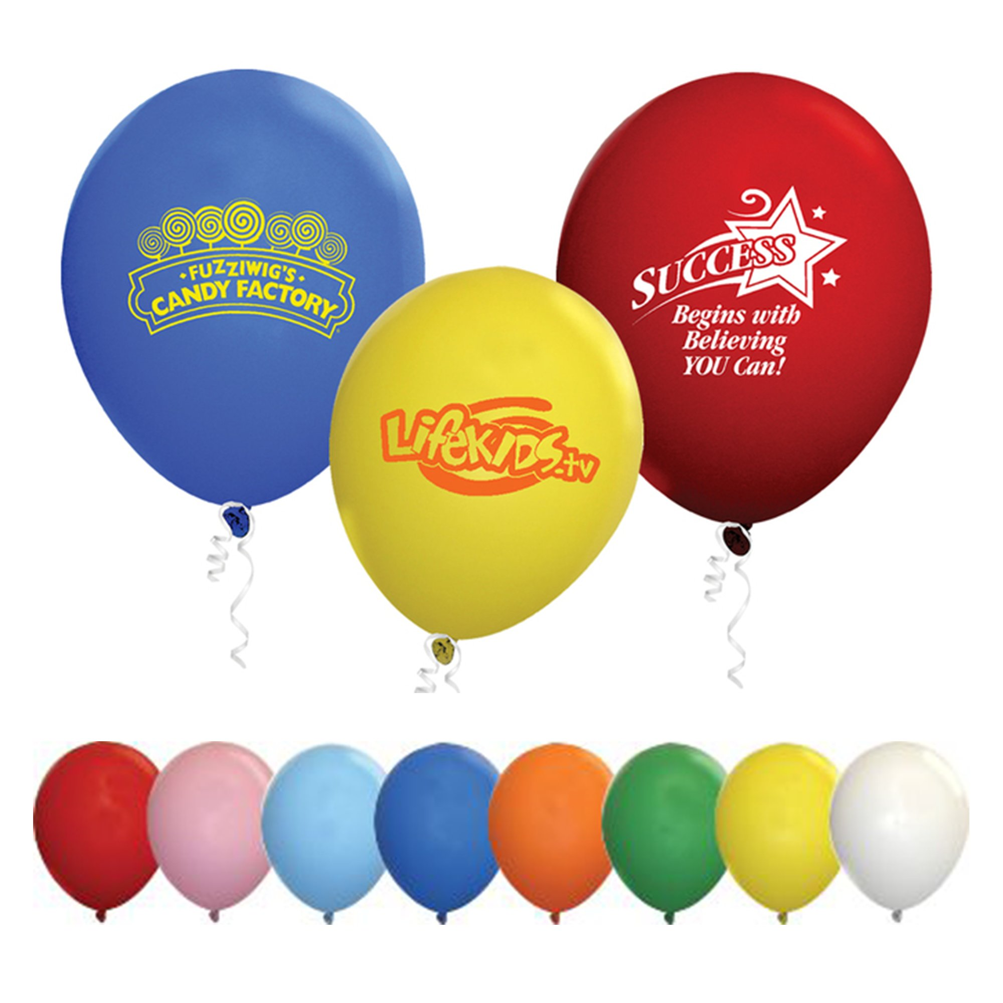 Draw attention to your business with colourful imprinted balloons. A must have for celebrations, grand openings and special events.