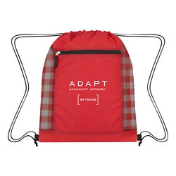 Customized Checkered Mesh Accent Drawstring Bag