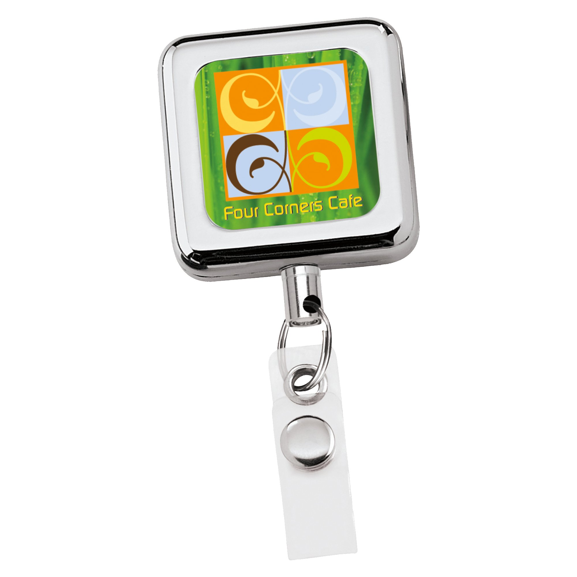 Promotional Square Metal Retractable Badge Holder | National Pen